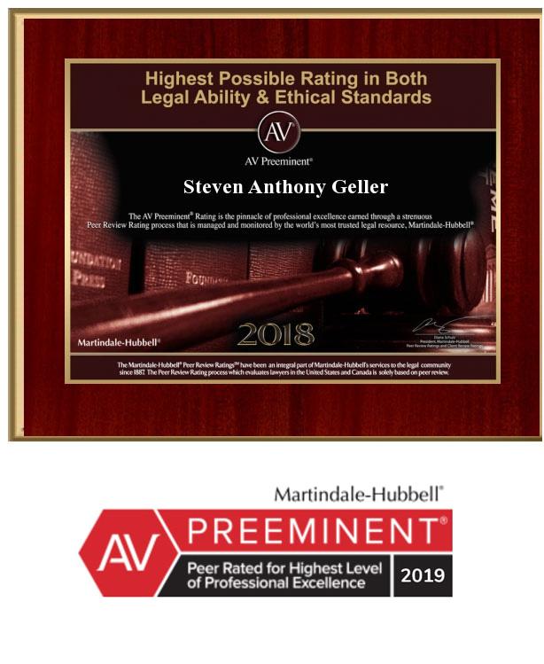 AV Preeminent ranking from Martindale-Hubbell 2018